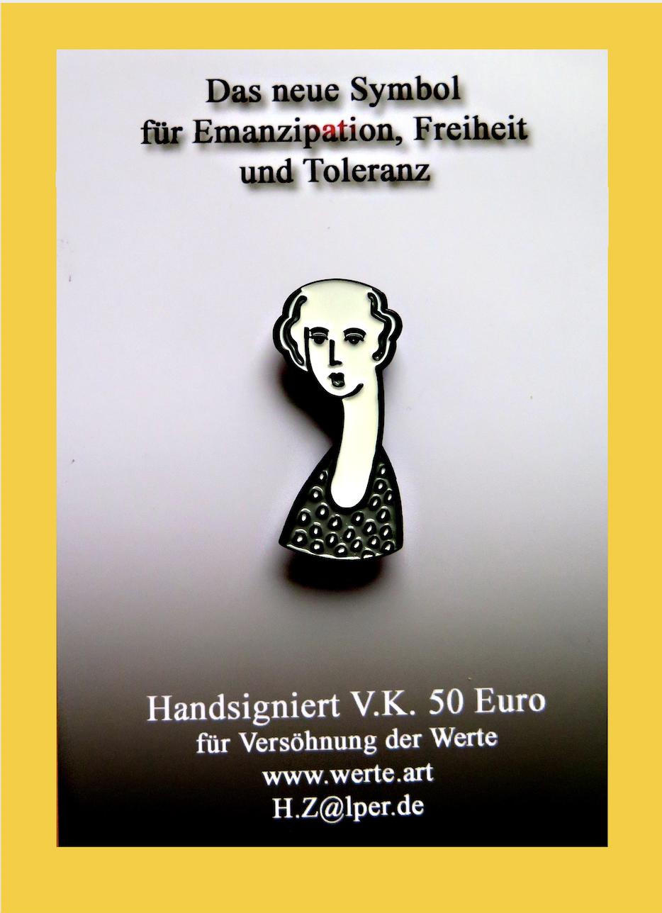Werte-Anstecker von Heinz Zolper. Symbol für Emanzipation, Freiheit und Toleranz. ArtForum Editions