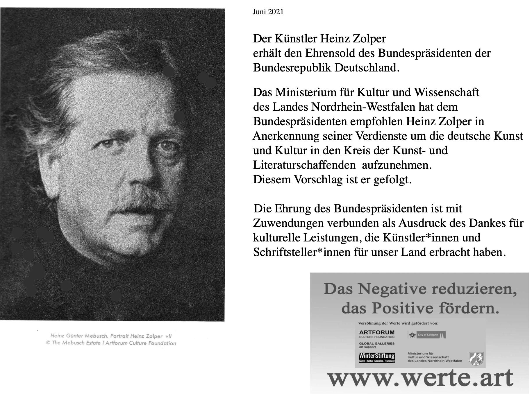 Ehrung des Bundespräsidenten für Heinz Zolper